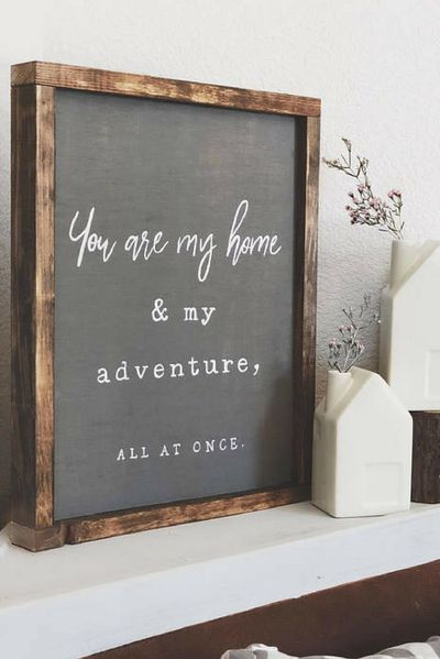YOU ARE MY Home Sign - Bedroom Sign - Living Room Decor - Farmhouse Decor - Modern Farmhouse Decor - Hand painted Wood Sign - gallery Wall Art, Rustic decor, Rustic sign, Farmhouse sign, Home decor #ad