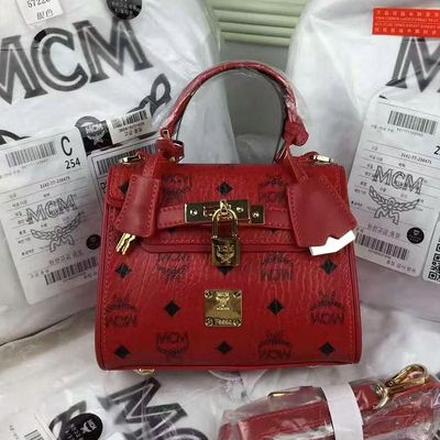 MCM Mini Ketty Visetos Satchel In Red