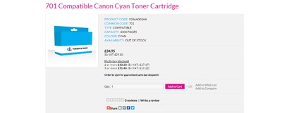 Each 701 Compatible Canon Cyan Toner Cartridge produces vibrant colours and at least the same number of printed pages as the original product We are so confident you will be delighted; we offer the Ultimate Satisfaction Policy
