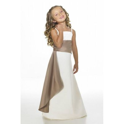 Nectarean A-line Spaghetti Straps Sashes/Ribbons Floor-length Satin Junior Bridesmaid Dresses - Dressesular.com