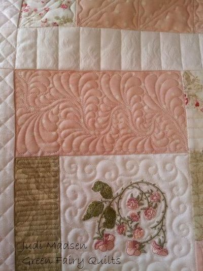 Feather Quilting goodness! Love this! Quilted by Judi Madsen ... : judi madsen quilts - Adamdwight.com