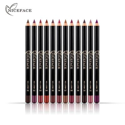 NICEFACE 12 Colors Brand Smooth Nude Color Lip Pencils Matte Lipliner Pencil Lots Waterproof Makeup Lips Matte Lipstick Lip Liner Pen $4.49