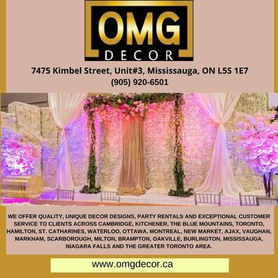 We offer Quality, Unique Decor Designs, Party Rentals and Exceptional Customer Service to clients across Cambridge, Kitchener, The Blue Mountains, Toronto, Hamilton, and many more places. click to know more about us: https://www.omgdecor.ca Call: (9...
