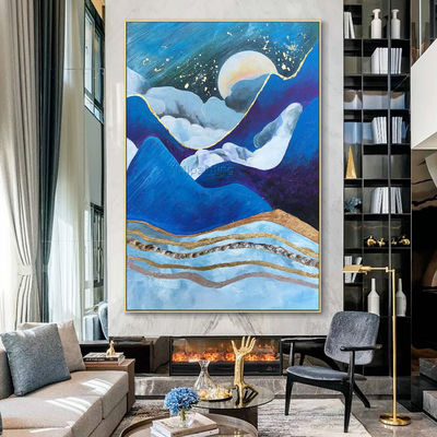 Moutain and Moon arcylic painting on canvas Original abstract nordic extra Large navy blue Wall Art Pictures Room Decor caudros abstractos $116.47