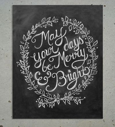Merry & Bright Christmas Chalkboard Art Print | Art Prints | Lily & Val | Scoutmob Shoppe | Product Detail
