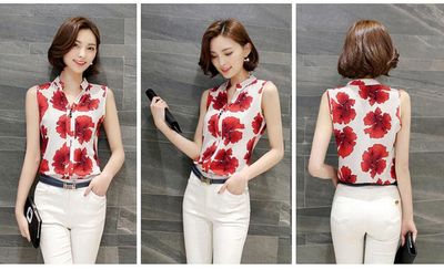 Women Blouse Lively Print Summer Top Red Flowers $25.32