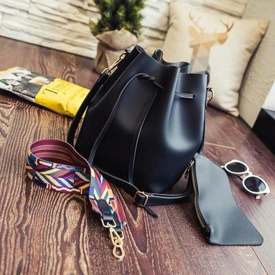 Strap Bucket Bag Women Pu Leather Shoulder Bag Handbags Ladies Crossbody Bag $37.54