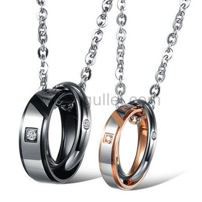 Double Ring Pendant Perfect Couples Necklaces Gift for 2 by Gullei.com