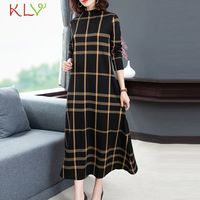 Plaid Dress Plus Size Women Long Sleeve Mid Calf Midi Dresses Elegant Casual Ladies Winter Clothes Vestidos Fashion