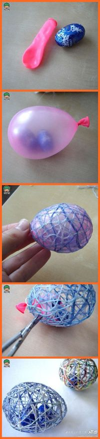 How to Make String Easter Eggs. How to Make String Easter Eggs. Lacy string Easter eggs are a fun and creative alternative or addition to traditional Easter egg