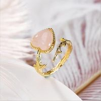 Natural Pink Crystal Ring / Gold Plated Inlay / Open Heart Ring / Twig Ring / Wedding Ring