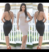 2015 new fashion sexy club black nude one shoulder sexy three straps formal winter party bandage dresses on sale