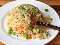 This recipe produces fried rice with individual grains and is lightly seasoned to allow the flavor of the rice to dominate.