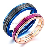 Engraved Heartbeat Couple Promise Rings https://www.gullei.com/engraved-heartbeat-couple-promise-rings.html
