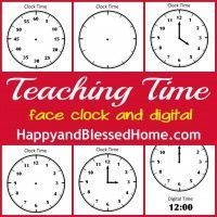 Teach your child how to tell time with these FREE printables from Happy and Blessed Home.com. Face and Digital clocks with blank templates & hour clocks.