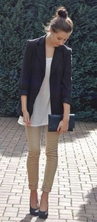 Navy blazer & khakis. Simple style that is perfect for this time of year.