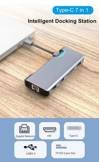 7 in 1 USB Type-C Data HUB Adapter with 2*USB 3.0 4K HD RJ45 PD Charging TF SD Card Reader for Tablet Laptop