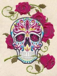 """Dia De Los Muertos"" Mexico's Day of the Dead skull embroidery design download. $6.00"