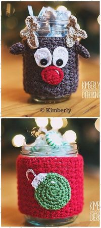Crochet Christmas Mason Jar Cozy Free Patterns and Paid: Christmas Bootie Can Cover, Elf Jar, Santa Jar, Candle Jar, Gift Sack,