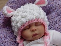 Fuzzy Lamb Hat Newborn to 6 Months ~ hahaaa!! How cute! No pattern.