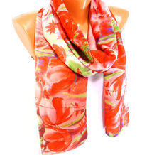 Scarf, Shawl, Chiffon Scarf, Poppy Pattern, Red Scarf Womens Fashion Accessories, Lightweight Summer Scarf, Gifts for Christmas, Mothers day $16.00
