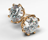 2 ct Stud Moissanite Earrings, Classic Celtic Earrings, 14K or 18K Rose gold 8 prongs $841.50