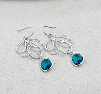 Silver Chandelier Earrings, Bohemian Wedding, Teal Blue