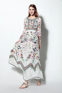 LONG SLEEVE VINTAGE STYLE FLORAL EMBROIDERED DRESS �'�13200.00