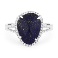 3.24ct Fancy Checkerboard Blue Lapis & Round Cut Diamond Halo Right-Hand Ring in 14k White Gold