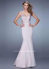 Champagne La Femme 21481 Beaded Straps Mermaid Satin Evening Gown