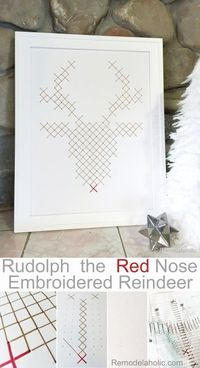 Rudolph the Red Nosed Reindeer Embroidery art Tutorial and or printable