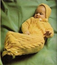 Knit Snuggle Bunny Baby Buntingl with lots of cute free vintage pattern. I made this years ago!
