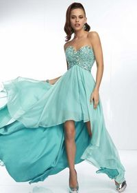 Aqua Beaded Chiffon Layered Low High Prom Dresses