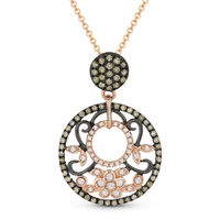 0.47ct Brown & White Diamond Pave Pendant & Chain Necklace in 14k Rose & Black Gold - AM-DN4374