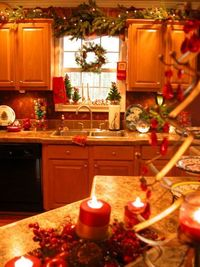 Who says holiday decorating is only for the living room? My kitchen is equally decorated. There is Christmas in EVERY room. Including the bathroom, lol!