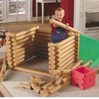 Life size Lincoln Logs made out of pool noodles~ 15 pool noodles from the dollar store, cut in half, cut notches out easily, with scissors = hours and hours of fun playtime! aWESOME!!!