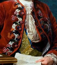 "Detail stock, cravat, lace ruffs, embroidered velvet frockcoat, sash and pin. Detail from portrait of Ulrik Scheffer (1716 �€"" 99), 1763 by Alexander Roslin"