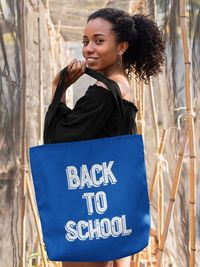 Gift for Student - Back to School Blue Retro Tote bag - High School - College Present $36.95