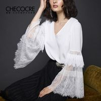 Must-have Office Wear Sexy Split Front Flare Sleeves V-neck White Frilled Top - Bonny YZOZO Boutique Store