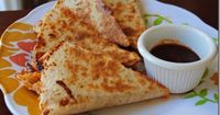 BBQ chicken quesadilla... already made and its amazing