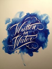 Cutting things out of watercolor texture is interesting. {Lettering & Calligraphy by Aquino Silva, via Behance}