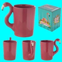 Pink Flamingo Shaped Handle Ceramic Mug  Food safe but cannot be used in the dishwasher or microwave.  Made from ceramics  Dimensions: Height 13cm Width 12.5cm Depth 8.5cm