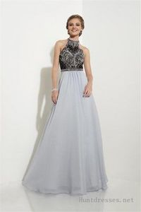 Long Beaded Chiffon Prom Dresses with Halter Neck by Studio 17 12619