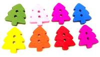 Pack of 50 Assorted Wooden Xmas Tree Buttons. Random Mix Colours. 14 x 12mm. Fancy Dress Parties, Easter, Christmas,Sewing and Needle Craft £3.09