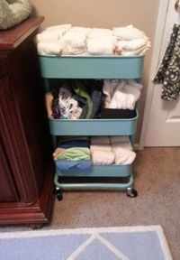Nursery storage is a challenge and it's even more challenging when you add cloth diapering. In this post, I offer 92 ideas from other moms who have been in your
