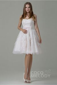 A-Line Sweetheart Natural Knee Length Tulle and Lace Pale Pink Sleeveless Zipper Wedding Dress