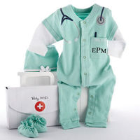 "Calling all newborn medical professionals, STAT! Baby Aspen introduces Baby MD, a whimsically cozy doctor's outfit for your own aspiring MD. Complete with a toasty-warm surgical cap and '�'��""hospital booties'�'�, this soft,..."