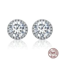 Authentic 100% 925 Sterling Silver Dazzling Clear CZ Small Stud Earrings for Women Wedding Engagement Jewelry $39.96