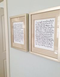 What a wonderful way to display those beautiful words you vowed to your loved one on that special day! This listing is for a set of His and Hers Wedding Vows handwritten in calligraphy on white paper with black ink. Measure 8x10 ***Framing NOT Included***...