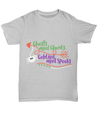 Ghosts and ghouls, goblins and spooks halloween dark unisex t-shirt $25.95